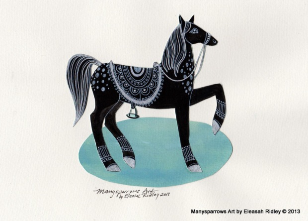 2-silver prancing black horse 001