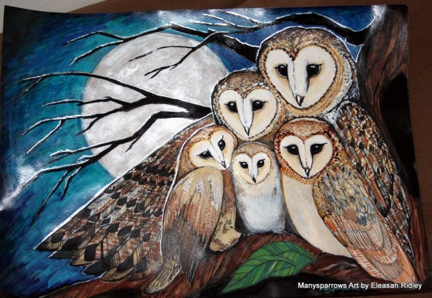 manysparrows art owls (1)