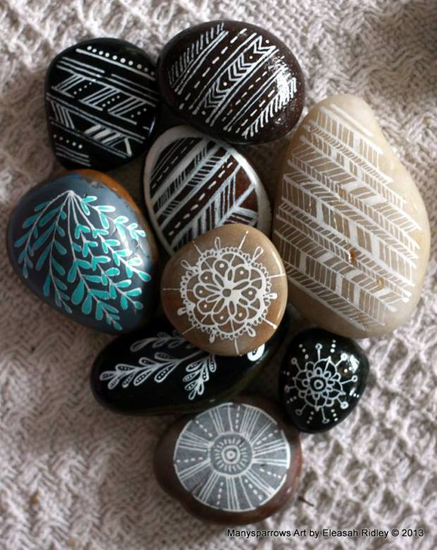 painted stones and clay by manysparrows art (12)
