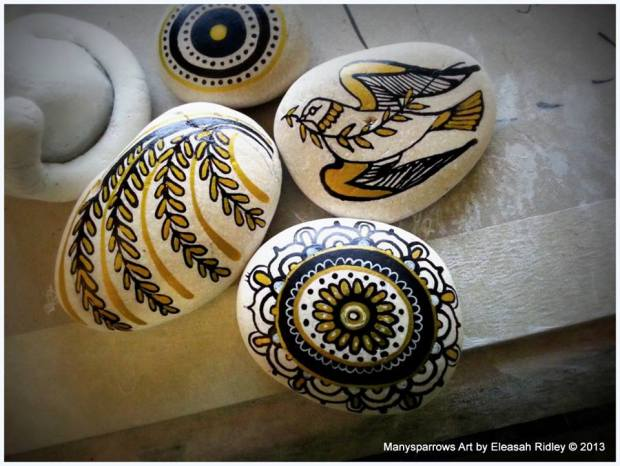 painted stones and clay by manysparrows art (13)
