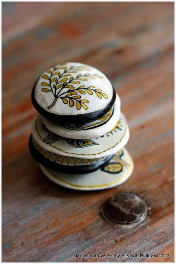 painted stones and clay by manysparrows art (3)