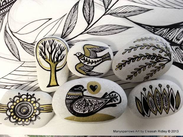 painted stones and clay by manysparrows art (4)