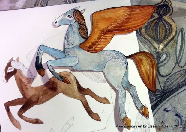 watercolour flying horses (3)