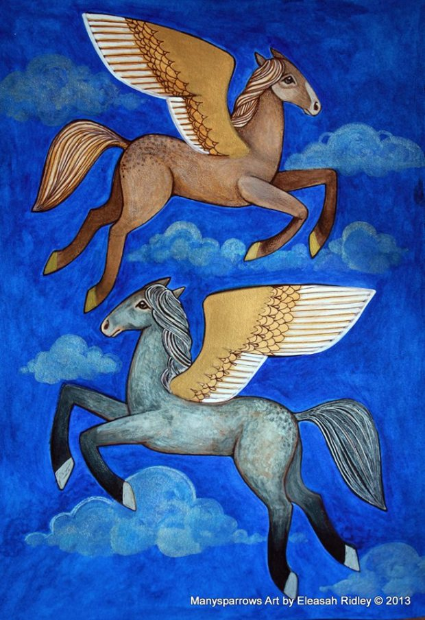 watercolour flying horses (4)